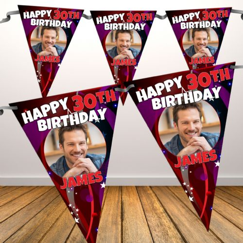 Personalised Happy Birthday Flag PHOTO Bunting Banner - N74 ANY AGE